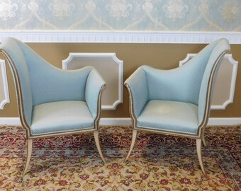 Great Mirrored Pair French Louis Style 1950s Hallway Entrance-Way Chairs