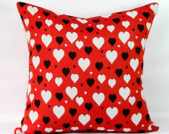 Red heart pillow cover 22 x 22 love pillow cover decor 26 x 26 black white decorative pillow case 16x16 pillow 18x18 throw pillows red