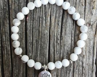 White Turquoise Howlite Bracelet, Lotus Bracelet, Charm