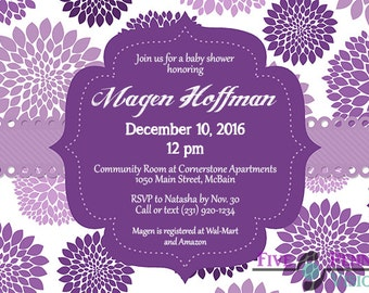 Purple Flower Baby Shower Invitation - Digital File