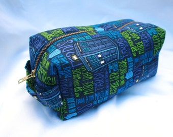 Toiletry Bag - Doctor Who TARDIS- School Supplies - Pencil and Electronics case- Dopp Kit - Valentine's Day Gift