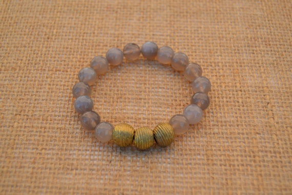 Faceted Grey Quartz Stretch Bead Bracelet with African Brass Beads