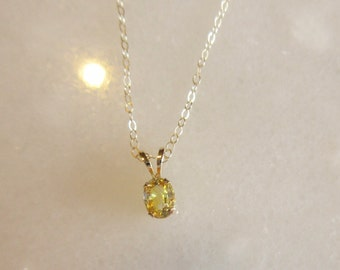 Pretty Natural Yellow Sapphire and Gold Necklace
