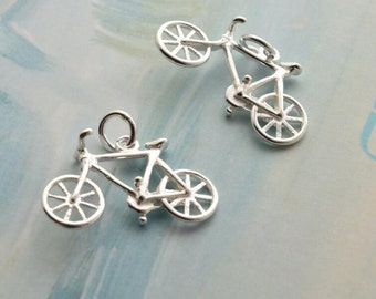 2 or 5 pcs sterling silver bicycle charm bike pendant