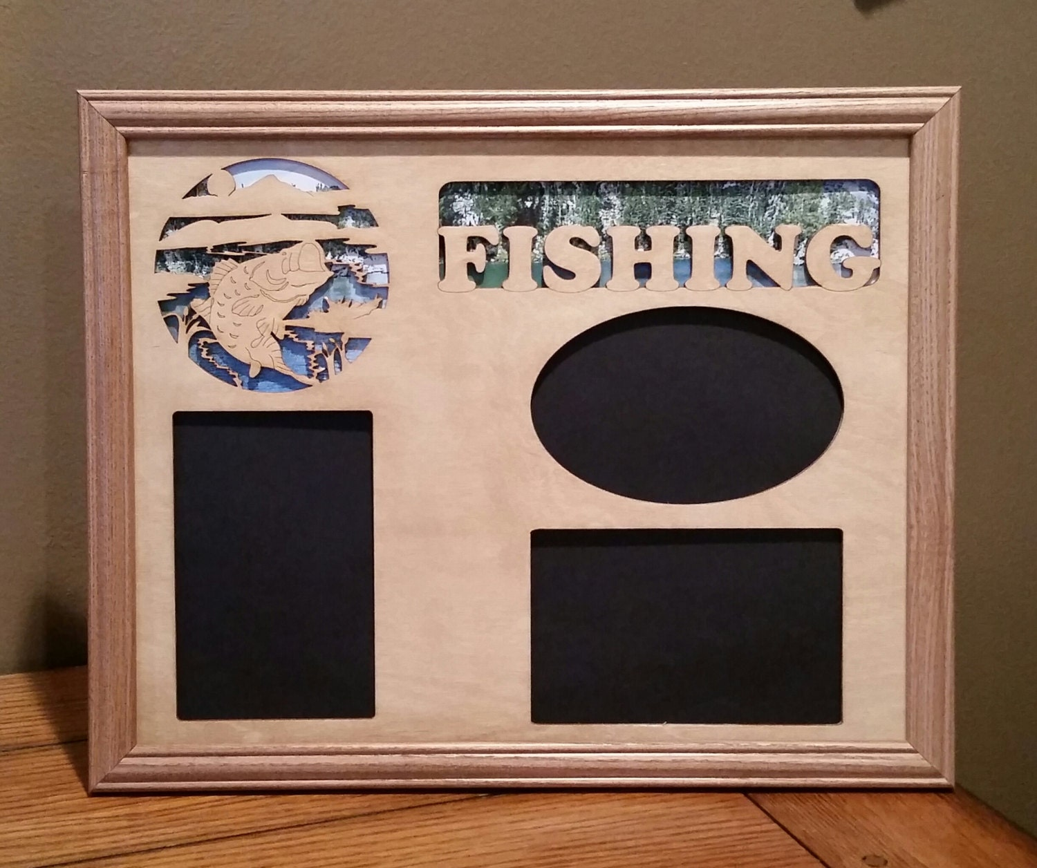 11x14 bass fishing laser engraved picture frame with 3 for Fish photo frame