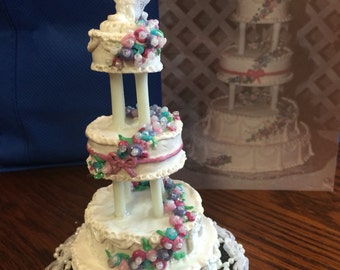 Custom Miniature Wedding Cake Replica with Topper