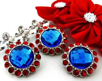 Royal Blue Rhinestone Button W/ Red Surrounding Acrylic Rhinestones DIY Embellishments Garment Wedding Coat Buttons  26mm 3185 3 4R