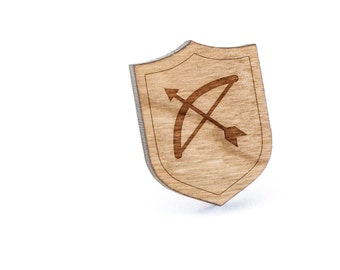 Bow And Arrow Lapel Pin, Wooden Pin, Wooden Lapel, Gift For Him or Her, Wedding Gifts, Groomsman Gifts, and Personalized