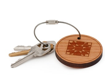Quilt Keychain, Wood Keychain, Custom Keychain, Gift For Him or Her, Wedding Gifts, Groomsman Gifts, and Personalized