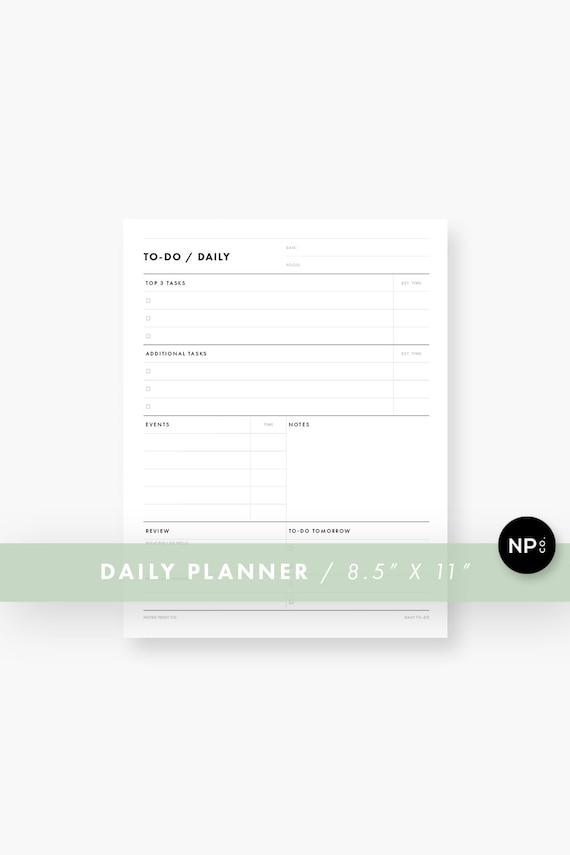 Printable Daily Agenda Pdf Productivity Planner Docket