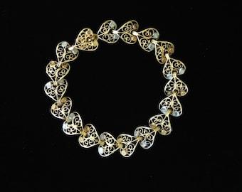 Vintage 800 Silver and Gold Filigree Bracelet-  Heart Shaped Silver and Gold Filigree Bracelet- Heart Shape Link Bracelet- Bridal Bracelet