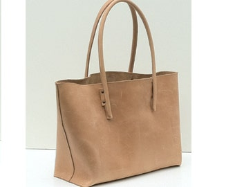 Leather bag / shopper in vintage, nature