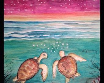 Moonlit Sea Turtles