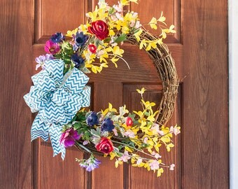 spring wreath, mother's day gift, bow wreath, forsythia wreath, spring wreaths, summer wreath, wreath, grapevine wreath, wreath, s