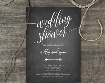 Wedding Shower Template, Couples Shower Invitation, Instant Download, Printable Rusic Chalkboard Shower Invite, Editable PDF Template #113BS