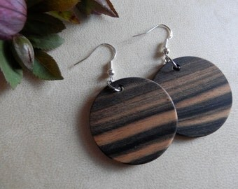 Exotic Black and White Ebony Wood Earrings. FREE SHIPPING!!!