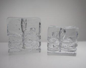 2 Solifleur Vases by Ingrid Glashütte Blockvase Budvase stemvase