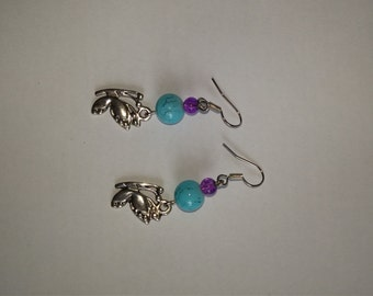 Purple and turquoise butterfly earrings