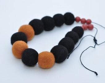 Wool jewelry Felted Necklace Eco jewelry Brown and black Felt Necklace Felted wool Necklace Bio wool Jewelry Modern jewelry