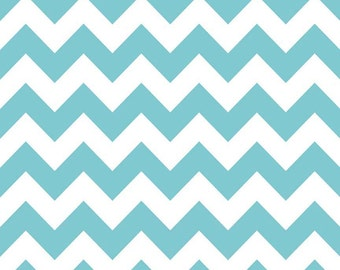 Riley Blake, Medium Chevron, Aqua and White, fabric by the yard