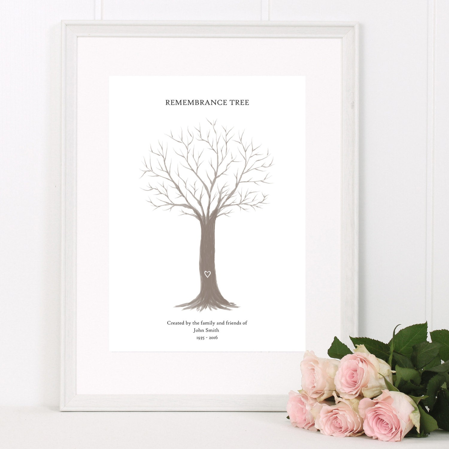 Pictures For Guests Fingerprints And Wishes: Personalised Remembrance Tree Funeral Fingerprint Guest Book