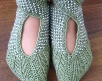Knitted slippers socks, women's slippers handmade, green color