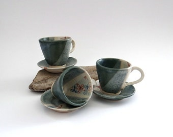 Small ceramic espresso cup and saucer set with floral illustration - handmade stoneware pottery