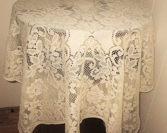Vintage Lace Tablecloth/Overlay Cream Color Rectnagular Shap, Cream Color Lace Tablecloth, Lace Tablecloth, Cream Lace Overlay Tablelcoth