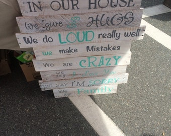 Family rules pallet signs