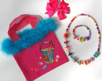 Girls Hot Pink Canvas Tote Bag Beach Appliques Grosgrain Bow Beaded Acrylic Necklace Bracelet Feather Boa Trim