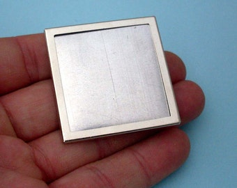 Brooch, DIY, Pin Setting Frame Mounting in Silver Tone and square Shape 315S