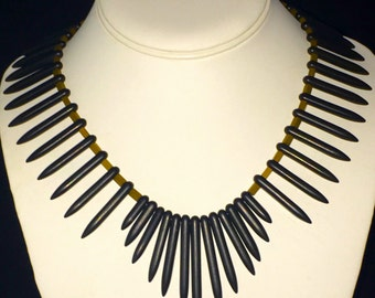 Boho Ethnic Tribal Tropical Handmade Black Spike beaded Statement Necklace