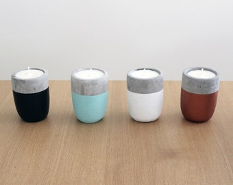 Hand-Poured 'Very Vanilla' Scented Soy Candle in Concrete Votive | Chelsea Chelsea