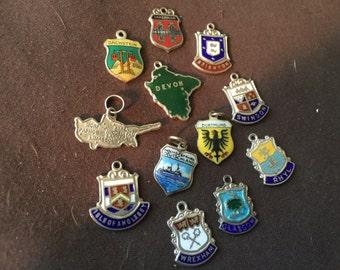 Vintage German English Travel Shields Charm Enamel