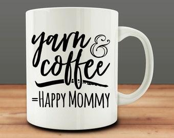 Yarn and Coffee Equal Happy Mommy Mug (M979)