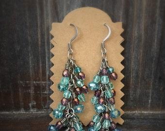 Purple and blue czech glass earrings.