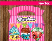 80% OFF SALE Shopkins favor gable box instant download, Printable Shopkins Party Bags Box, Party Shopkins favor box printable