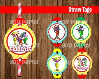 80% OFF SALE The Floogals Straw Tags instant download, The Floogals Straw Toppers, The Floogals Party Straw Tags