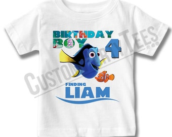 Finding Dory Birthday Shirt Add Name & AGE Gift Favors  Personalized Finding Nemo Birthday Shirt