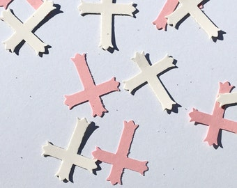 200 Pink and White Confetti Cross Confetti Christening Confetti Communion Confetti Confirmation Confetti Pink Confetti White Conffetti Girl