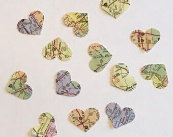 200 Atlas Map Heart Confetti Map Heart Confetti Atlas Confetti Heart Confetti Bridal Shower Confetti Wedding Confetti Anniversary Confetti