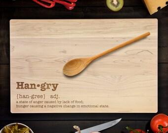 Custom Cutting Board funny HANGRY urban dictionary definition  Birthday Gift Wedding Gift Housewarming Gift Maple Chopping Block CB0096