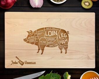 Custom Cutting Board Personalized Wedding Gift Cuts of Pork Chef Cutting Board Chopping Block Anniversary gift Housewarming Gift CB0100