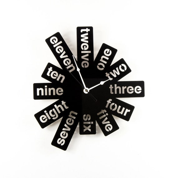Large Wall Clock Laser Cut Acrylic Black Clock Modern Graphic