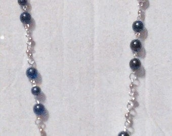 Opera Length; Black Glass Bead and Silver Bead Necklace