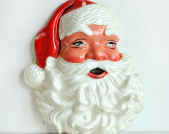 Vintage Styrofoam Santa Face - Dotted Halftone Plastic - Santa Claus foam face - Poloron