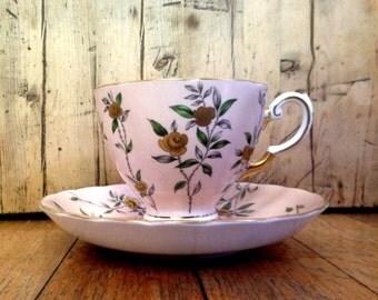 Vintage Tuscan Fine English Bone China teacup and saucer made in England, English china