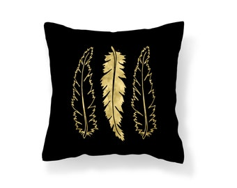 Throw Pillow Feather, Decroative Pillow, Feather Pillow, black pillow, gold pillow, gold feather, black feather