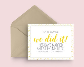First Wedding Anniversary Card - Pop the Champagne - Yellow and Grey - One Year Wedding Anniversary Card - Modern Wedding Anniversary