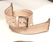 Double Tour Stitched Dusted Pink Leather Apple WATCH band strap 38mm 42mm